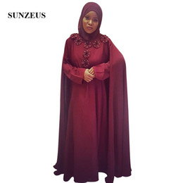 $enCountryForm.capitalKeyWord Australia - Burgundy Chiffon Muslim Evening Dress With Cape A-line Long Sleeves Formal Gowns With Flowers Women Party Dress