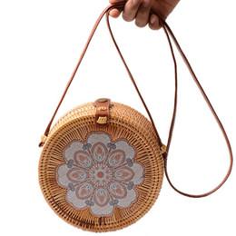 Rains bags online shopping - Printing Round Rattan Crossbody Bag Straw Boho Bag For Women Purse Handmade Clutch Women Shoulder Bag Rain
