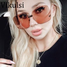 $enCountryForm.capitalKeyWord NZ - 2018 Italy Brand Designer Rimless Big Sunglasses Women Men Fashion One Piece Square Sun glasses For Female Wine Red Shades UV400