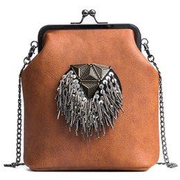 Bag Frames Australia - 2019 New Brand Women Rivet Shoulder Bag Designer Crossbody Women Frame Bag Female Pu Leather Sequined Tassel Messenger Bag 155