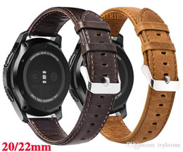 gear s2 band UK - 20m 22mm Genuine Leather Band For Samsung Galaxy Gear S2 S3 Frontier Classic Galaxy Watch 42mm 46mm for Huami Amazfit watchband