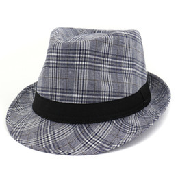 british cap UK - Spring Summer Cotton Linen Adult Stingy Brim Jazz Cap Plaid British Style Men Women Fedora Hat Homburg Fashion Street Hat