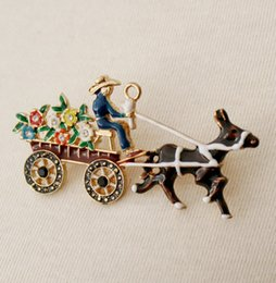 Trendy Christmas Gifts Australia - Fashion Jewelry Brooches Fashion Trendy New Holidays Gift Enamel Horse Carriage Flower Pin Brooch For Christmas Xmas Jewelry