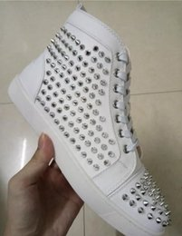 Name Brand Red Dresses Australia - 2019 Sell Name Brand Red Sole Black Sneaker Shoe Man Casual Woman Fashion Rivets High Top Mens Dress Party Cheap Sneaker Designer Shoes #987