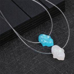 $enCountryForm.capitalKeyWord Australia - Blue Opal Hamsa Necklace White Pink Hand Fatima Pendant Necklaces Clear String Chain Choker For Women Fashion Jewelry