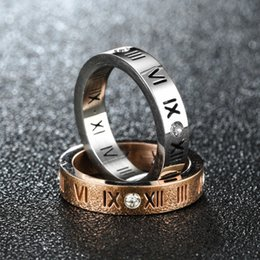 $enCountryForm.capitalKeyWord UK - Roman Numerals rings Jewelry Inlay Cubic Rose Gold Silver Ring for Women Man Wedding Engagement designer jewelry women rings