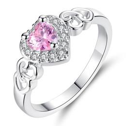 671dc4ed1bff Beiver Fashion Korea Mujeres Rodio Plateado Corazón Rosa Cristal Anillo  Tamaño 6 7 8 9