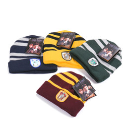 $enCountryForm.capitalKeyWord UK - Harry Potter School Gryffindor Slytherin Ravenclaw Hufflepuff Hat Badge Skull Cap Beanie Potter Fans Cosplay Christmas Gift Wholesales