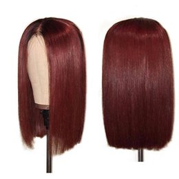 Front lace wig 1b online shopping - 1B J Ombre Lace Front Human Hair Wigs With Baby Hair Brazilian Remy Straight Hair Short Bob Wigs For Black Women