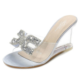d040851ca7744 Women Slippers Transparent Wedge Sandals Ladies Shoes Summer Sexy Crystal  High-heel Rhinestone Beach Female Slippers A461