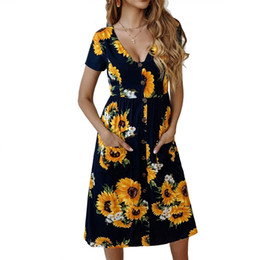 2c7489c8db5 PEONFLY Women Sexy V Neck Party Dress 2019 New Sunflower Printing Short  Sleeve Buttons Pocket Casual Loose A Line Summer Dresses