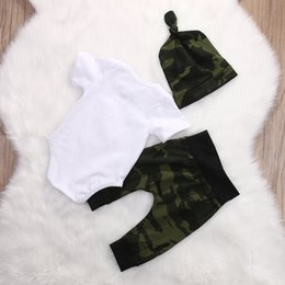 camouflage clothes for baby boys UK - 3 pieces Worth the Wait Short sleeve Bodysuit,Camouflage Pant with Hat Set For Baby Boy Summer Clothes Outfit