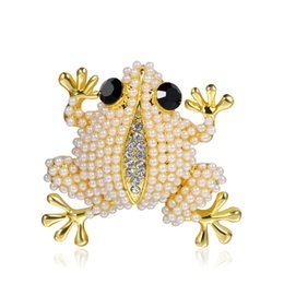 frog brooches Australia - Fashion Korean version of alloy pearl frog pearl brooch brooch flower silver jewelry boutique gift