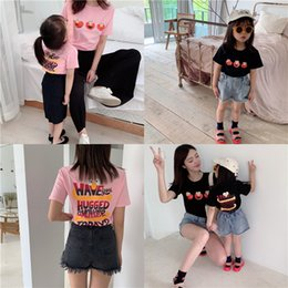 c274a3e740d59 Boys T-shirt kids cartoon anime letter printed T-shirt girls round collar  short sleeve casual tees mommy and me matching outfits F6352