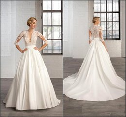 Half sleeve wedding dress tops online shopping - Lace Top A Line Satin Wedding Dresses Half Sleeves Sheer Deep V Neck Appliques Wedding Dress Hollow Back Court Train Bridal Gowns