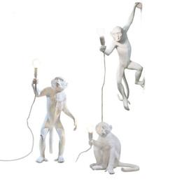 Moderna Resina Creativa Mono Blanco Lámpara Loft Vintage Cáñamo Cuerda Colgante de Luz para el Hogar Bar Cafe Retro Colgante lámpara colgante en venta