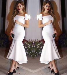 Cheap evening dresses dubai online shopping - Arabic Dubai Sexy Sheath Mermaid Cocktail Dresses Cheap Off Shoulder Ruffles Tea Length Formal Evening Party Gowns Simple Bow Custom