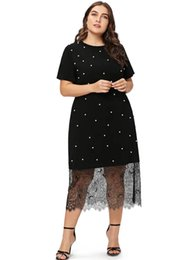 Wear Dress Shirts UK - wholesale Fashion Plus Size Beaded Lace Splice T-Shirt Dress O Neck Short Sleeves A Line Sheath Dresses Causal Party Dress