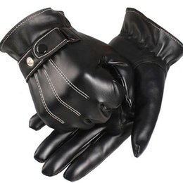 Chinese  1pair Men's winter plus velvet warm leather PU outdoor riding sports full touch screen gloves waterproof motorcycle gloves manufacturers