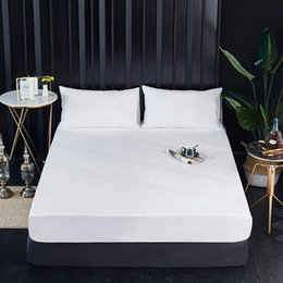 Sanding padS online shopping - Waterproof Mattress Pad Cover Anti Mites Bed Sheet Protector bedspread hotel solid color sanding waterproof baby for Bed Mattress Topper
