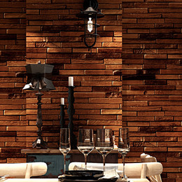 sound clothing UK - Custom 3d American retro personality wood plank brick vinyl wallpaper bar restaurant clothing store cafe TV background wall paper