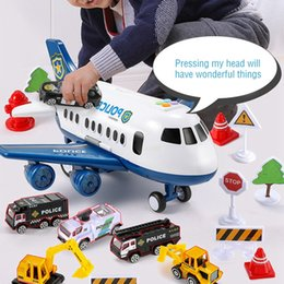 inertia toy car Canada - Children'S Toy Aircraft Boy Baby Oversized Music Track Inertia Toy Car Plane Passenger Model Large Storage Space