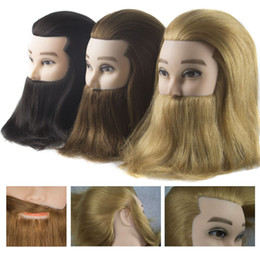 human hair training heads NZ - Male 100% real human hair mannequin practice training head with beard barber hairdressing manikin doll head for beauty school