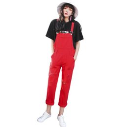 Jumpsuits Lemon Gina 2019 New Women Casual Notched V-neck Jumpsuits High Waist Sashes Denim Long Rompers Vintage Playsuits Y5078