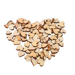 Wood Heart Decoration Australia - 200pcs pack Rustic Wood Wooden Love Heart Wedding Table Scatter Decoration Crafts DIY Handmade diy imitation wood love jewelry