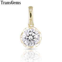 Yellow Gold Pendants Australia - Transgem 1ct 6.5mm F Color Moissanite Pendant 14k 585 Yellow Gold Classic Slide Pendant For Women Y19061203