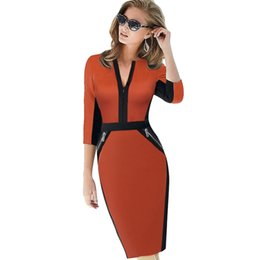 $enCountryForm.capitalKeyWord UK - Plus Size Front Zipper Women Work Wear Elegant Stretch Dress Charming Bodycon Pencil Midi Spring Business Casual Dresses 837 J190530