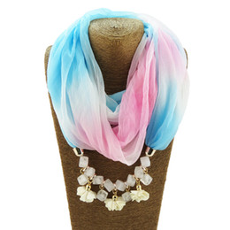 $enCountryForm.capitalKeyWord UK - Flowers Pendant Geometric Beads Necklace Bohemia Gradient Polyester Scarf Maxi Statement Necklaces For Women Christmas Gifts