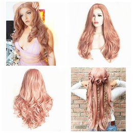 Discount wig lace front hair white - Free Shipping 26inch Rose Pink Long Body Wave Hair 180% Density Heat Resistant Fiber Hair Glueless Synthetic Lace Front