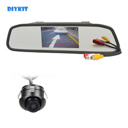 rear monitor UK - DIYKIT 4.3inch Car LCD Rear View Mirror Monitor Car Monitor + 360 HD Rear   Front   Side View Car Camera Cam