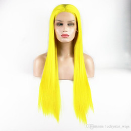 "fast cosplay shipping Australia - Fast Shipping Yellow Color 26"" Long Silky Straight Wigs For Women High Temperature Cosplay Fiber Glueless Synthetic Lace Front Wigs Party"