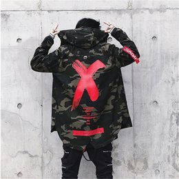 Wholesale X Printed Winter Jacket for Men Tactical Camouflage Loose Hooded Male Coat Zipper Long Sleeve Windbreaker Women Trench