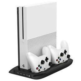 Xbox Usb Ports UK - 4 in 1 Vertical Stand for Xbox one S with 4 USB Ports Hub + Cooling Fan + Controller Charger Dock for Xbox one Slim Game Console