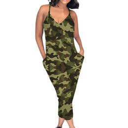 $enCountryForm.capitalKeyWord UK - Women Jumpsuits Camouflage Jumpsuit V Neck Sling Rompers Casual Sleeveless Playsuit Overalls for Women Body Femme Romper