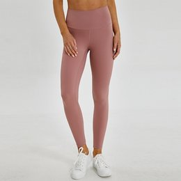 ladies wearing yoga pants NZ - 50pcs Solid Color Women yoga pants High Waist Sports Gym Wear Leggings Elastic Fitness Lady Overall Full Tights Workout Ya07