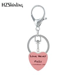$enCountryForm.capitalKeyWord Australia - HZSHINLING New Heart Shaped Keychian Love Never Fails 1 Corinthians 13 Handmade Art Works Keyring Jewelry