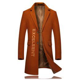 ba826ebe226 New Men Winter Embroidered Woolen Coat Black Gray Orange Slim Elegant Mens  Business Hotel Banquet Casual Long Jacket