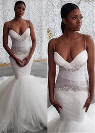 Sexy Unique Red Wedding Dresses Australia - Unique Tulle Spaghetti Straps Neckline Mermaid Wedding Dresses With Rhinestones Bridal Gowns Sexy Black Girl African cheap wedding Gowns