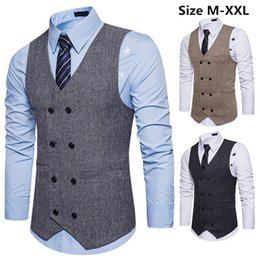 Wholesale vintage mens waistcoat resale online - Formal Business Vest Men Vintage Solid Slim Fit Vests Waistcoats Casual Double Breasted Waistcoat Sleeveless Mens Formal Vest M XL