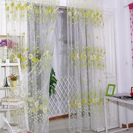 Discount sunflower curtains - Sunflower Voile Door Window Screening Curtains Sheer Drape Panel Scarfs Valances Hot TQ