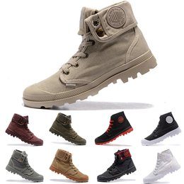 palladium shoes leather Canada - trainers shoe PALLADIUM Pallabrouse Men High Army Military Ankle mens women boots Canvas Sneakers Casual Man Anti-Slip designers Shoes 36-45