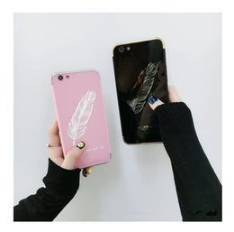 Iphone Back Hot Pink Australia - Feather Patterned Cartoon Case For iPhone XS max XS XR 8 7 Acrylic Mirror Phone Cover Case Hard Back hot sale