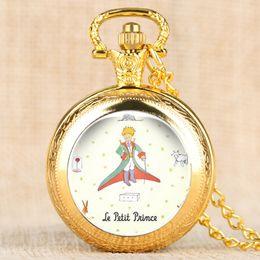 $enCountryForm.capitalKeyWord Australia - Luxury The Little Prince Quartz Pocket Watch Fox Rose Pattern Necklace Pendant Gifts for Men Women Children Collectibles