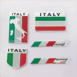 EmblEm flags online shopping - 2019 Hot Fashion quality D Aluminum ITALY Flag car Badge Emblem M sticker accessories stickers For Audi chevrolet honda Car Styling