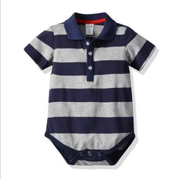 Chinese  2020 A New Kind of Baby Leisure Hat-shirt with Short Sleeves and Connected Hat-shirt and Pure Cotton Stripe Climbing Suit manufacturers