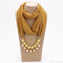 Fashion Women Solid Color Silk Scarf Pearl Decoration Chiffon Necklace Scarves New Girl Muslim Head Scarf Hijab on Sale